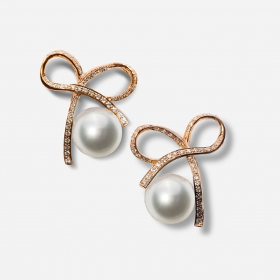 Ribbon White Pearl in Rose Gold