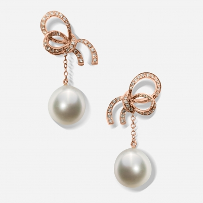 Small Ribbon White Pearl in Rose Gold